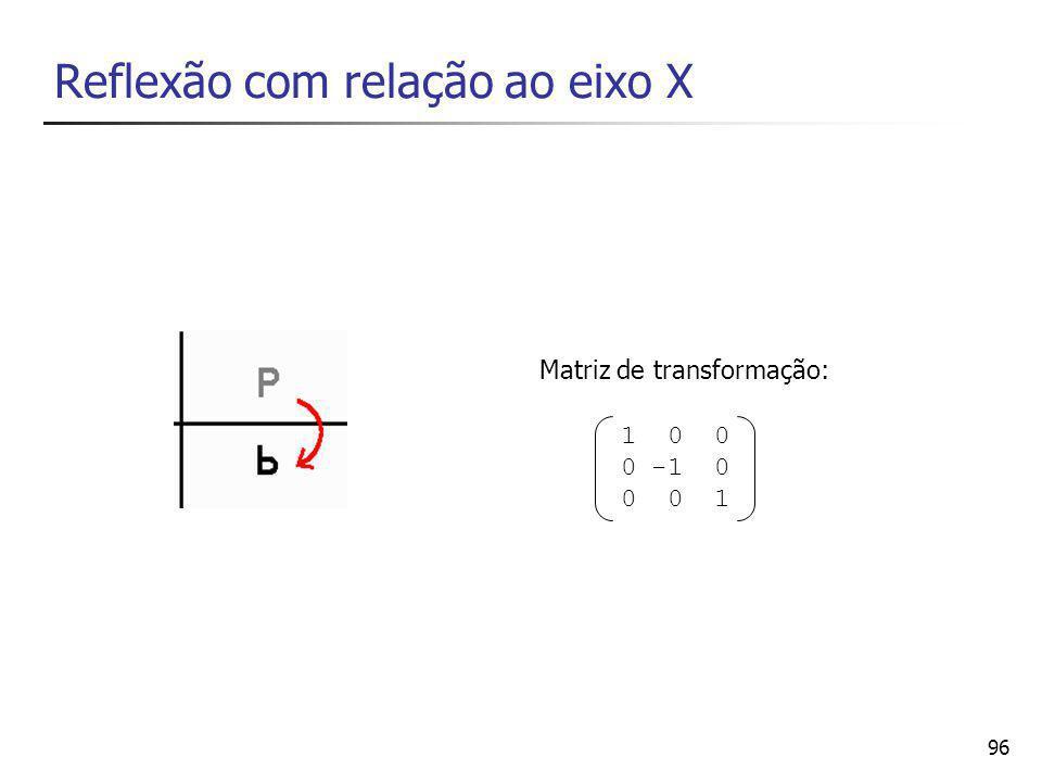 96 Reflexão com relação ao eixo X 1 0 0 0 -1 0 0 0 1 Matriz de transformação: