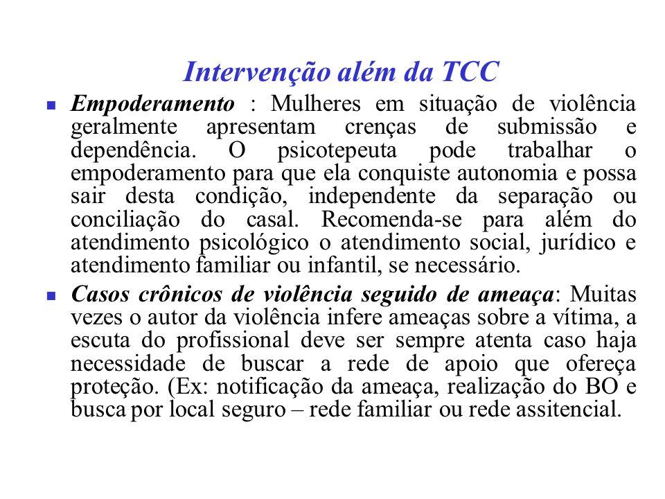 Intervenção além da TCC Empoderamento : Mulheres em situação de violência geralmente apresentam crenças de submissão e dependência.