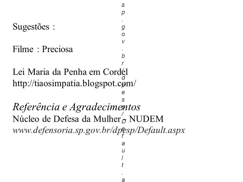 Sugestões : Filme : Preciosa Lei Maria da Penha em Cordel http://tiaosimpatia.blogspot.com/ Referência e Agradecimentos Núcleo de Defesa da Mulher - NUDEM www.defensoria.sp.gov.br/dpesp/Default.aspx 1.w w w.