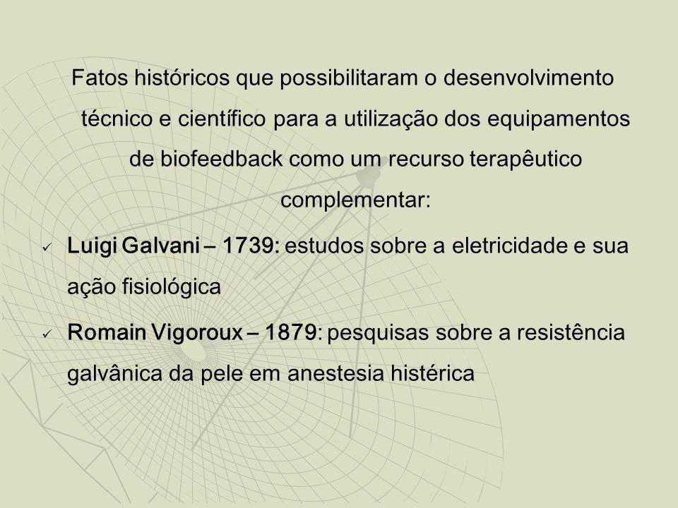 Fatos históricos que possibilitaram o desenvolvimento técnico e científico para a utilização dos equipamentos de biofeedback como um recurso terapêuti