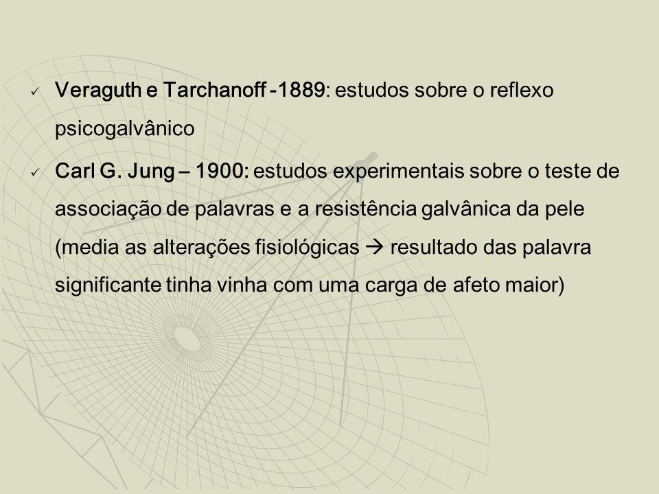 Veraguth e Tarchanoff -1889: estudos sobre o reflexo psicogalvânico Carl G. Jung – 1900: estudos experimentais sobre o teste de associação de palavras
