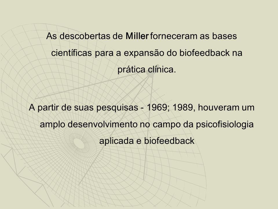 As descobertas de Miller forneceram as bases científicas para a expansão do biofeedback na prática clínica. A partir de suas pesquisas - 1969; 1989, h