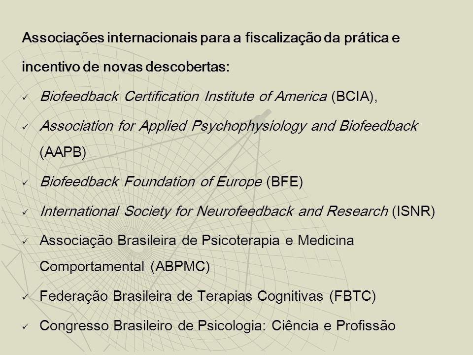 Associações internacionais para a fiscalização da prática e incentivo de novas descobertas: Biofeedback Certification Institute of America (BCIA), Association for Applied Psychophysiology and Biofeedback (AAPB) Biofeedback Foundation of Europe (BFE) International Society for Neurofeedback and Research (ISNR) Associação Brasileira de Psicoterapia e Medicina Comportamental (ABPMC) Federação Brasileira de Terapias Cognitivas (FBTC) Congresso Brasileiro de Psicologia: Ciência e Profissão