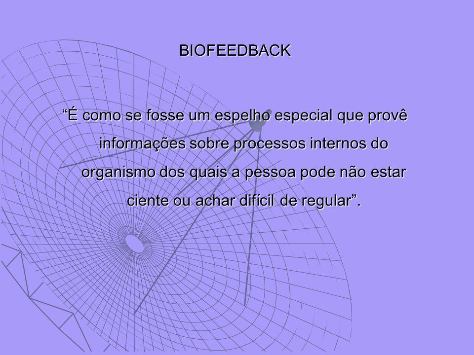 """BIOFEEDBACK """"É como se fosse um espelho especial que provê informações sobre processos internos do organismo dos quais a pessoa pode não estar ciente"""