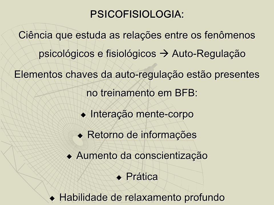PSICOFISIOLOGIA: Ciência que estuda as relações entre os fenômenos psicológicos e fisiológicos  Auto-Regulação Elementos chaves da auto-regulação estão presentes no treinamento em BFB:  Interação mente-corpo  Retorno de informações  Aumento da conscientização  Prática  Habilidade de relaxamento profundo