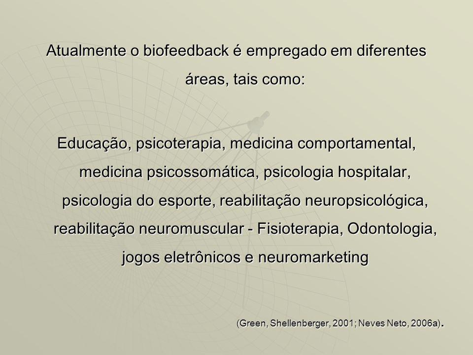 Atualmente o biofeedback é empregado em diferentes áreas, tais como: Educação, psicoterapia, medicina comportamental, medicina psicossomática, psicologia hospitalar, psicologia do esporte, reabilitação neuropsicológica, reabilitação neuromuscular - Fisioterapia, Odontologia, jogos eletrônicos e neuromarketing (Green, Shellenberger, 2001; Neves Neto, 2006a).