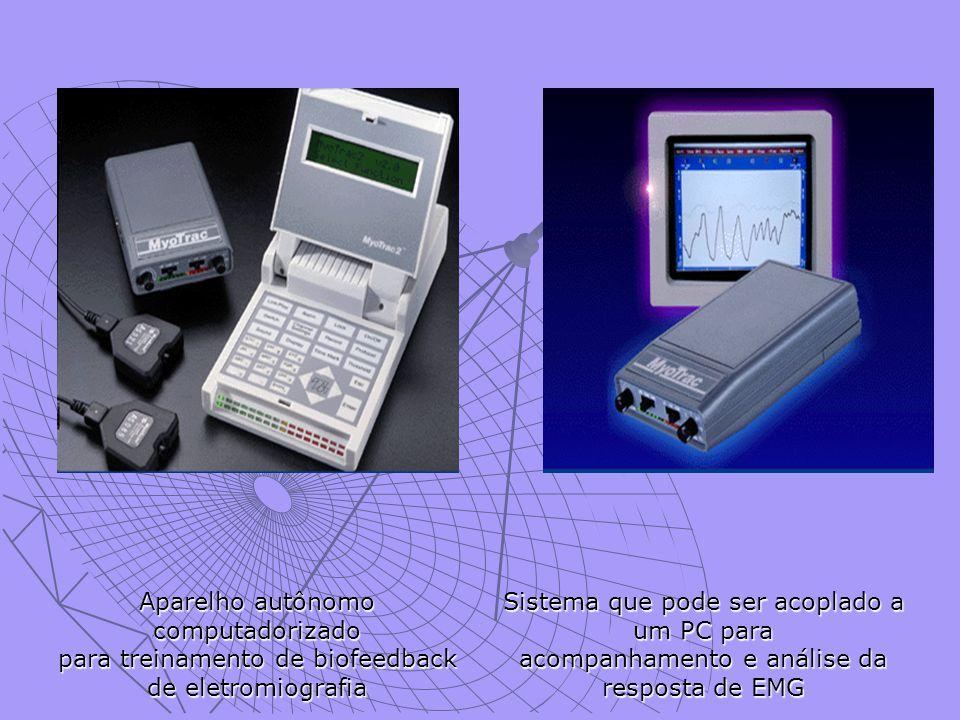 . Aparelho autônomo computadorizado para treinamento de biofeedback de eletromiografia Sistema que pode ser acoplado a um PC para acompanhamento e análise da resposta de EMG