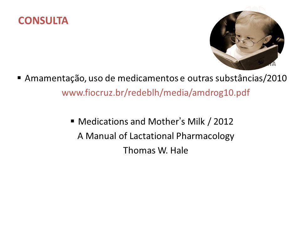 CONSULTA  Amamentação, uso de medicamentos e outras substâncias/2010 www.fiocruz.br/redeblh/media/amdrog10.pdf  Medications and Mother's Milk / 2012 A Manual of Lactational Pharmacology Thomas W.