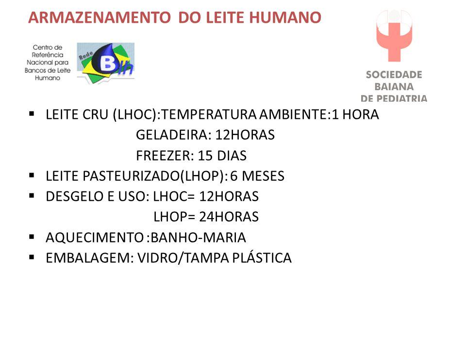 ARMAZENAMENTO DO LEITE HUMANO  LEITE CRU (LHOC):TEMPERATURA AMBIENTE:1 HORA GELADEIRA: 12HORAS FREEZER: 15 DIAS  LEITE PASTEURIZADO(LHOP): 6 MESES  DESGELO E USO: LHOC= 12HORAS LHOP= 24HORAS  AQUECIMENTO :BANHO-MARIA  EMBALAGEM: VIDRO/TAMPA PLÁSTICA