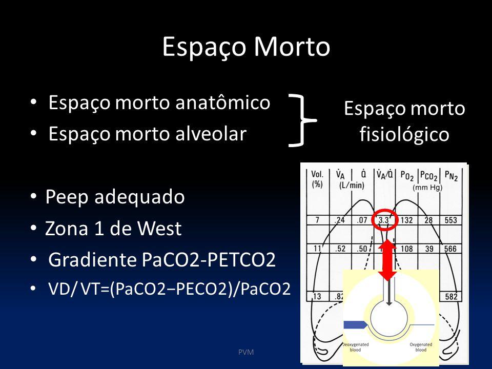 Espaço Morto Espaço morto anatômico Espaço morto alveolar Peep adequado Zona 1 de West Gradiente PaCO2-PETCO2 VD/ VT=(PaCO2−PECO2)/PaCO2 Espaço morto fisiológico PVM