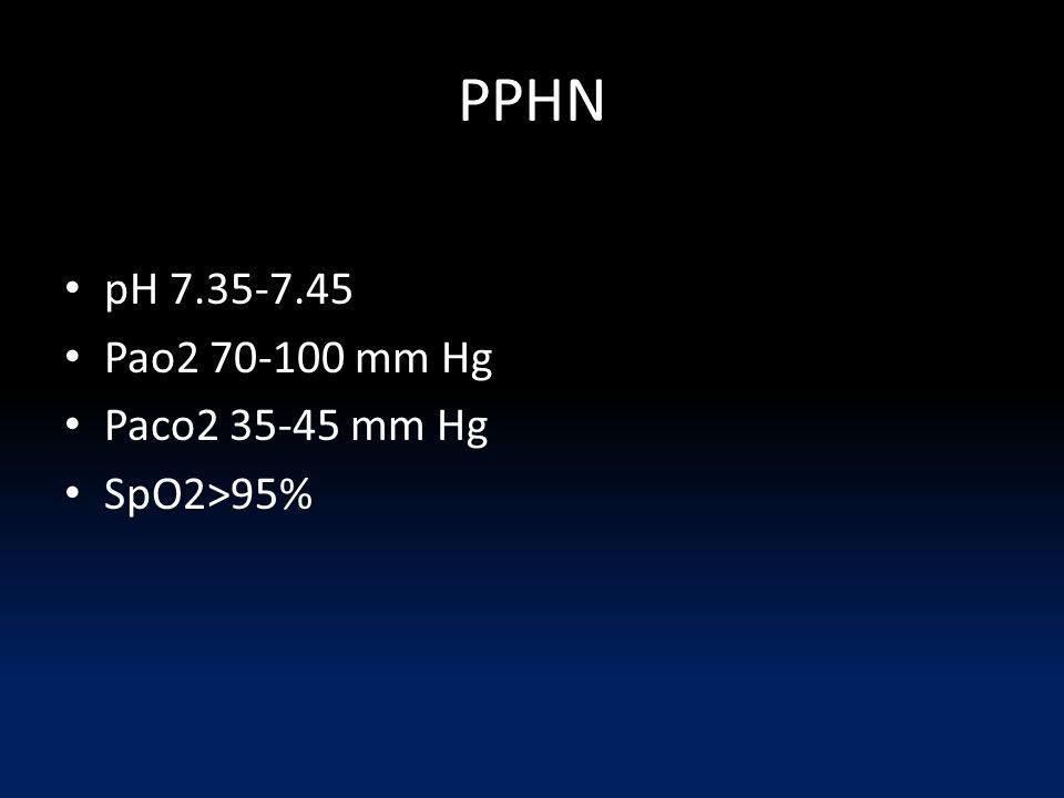 PPHN pH 7.35-7.45 Pao2 70-100 mm Hg Paco2 35-45 mm Hg SpO2>95%