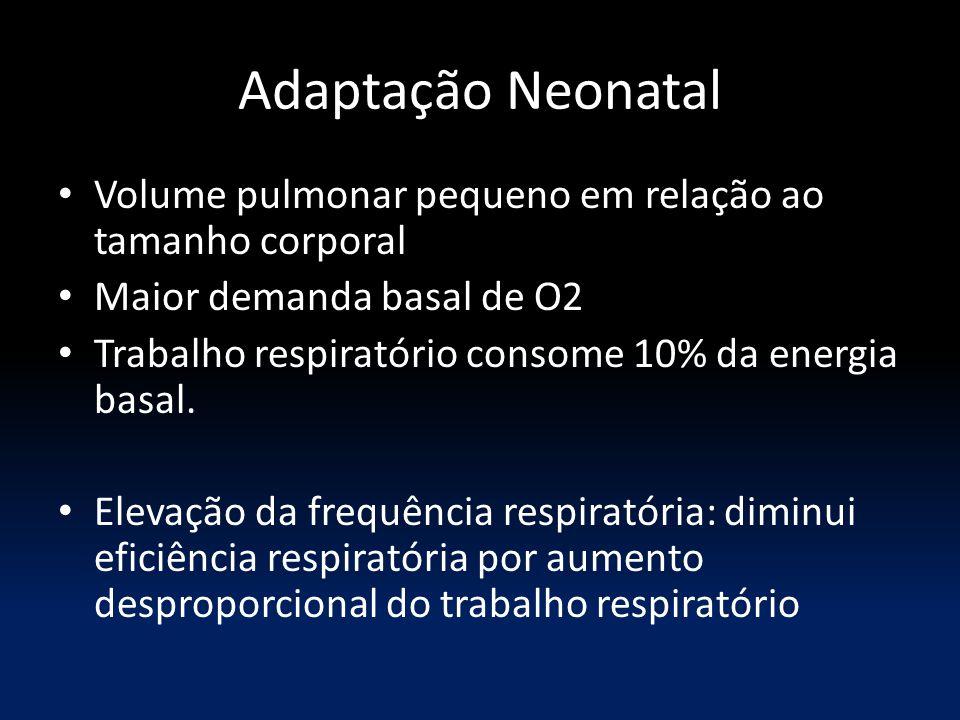 Adaptação Neonatal Volume pulmonar pequeno em relação ao tamanho corporal Maior demanda basal de O2 Trabalho respiratório consome 10% da energia basal
