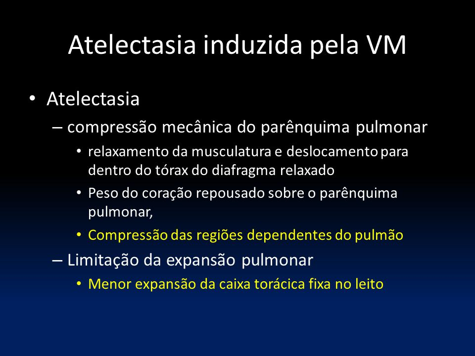 Atelectasia induzida pela VM Atelectasia – compressão mecânica do parênquima pulmonar relaxamento da musculatura e deslocamento para dentro do tórax d