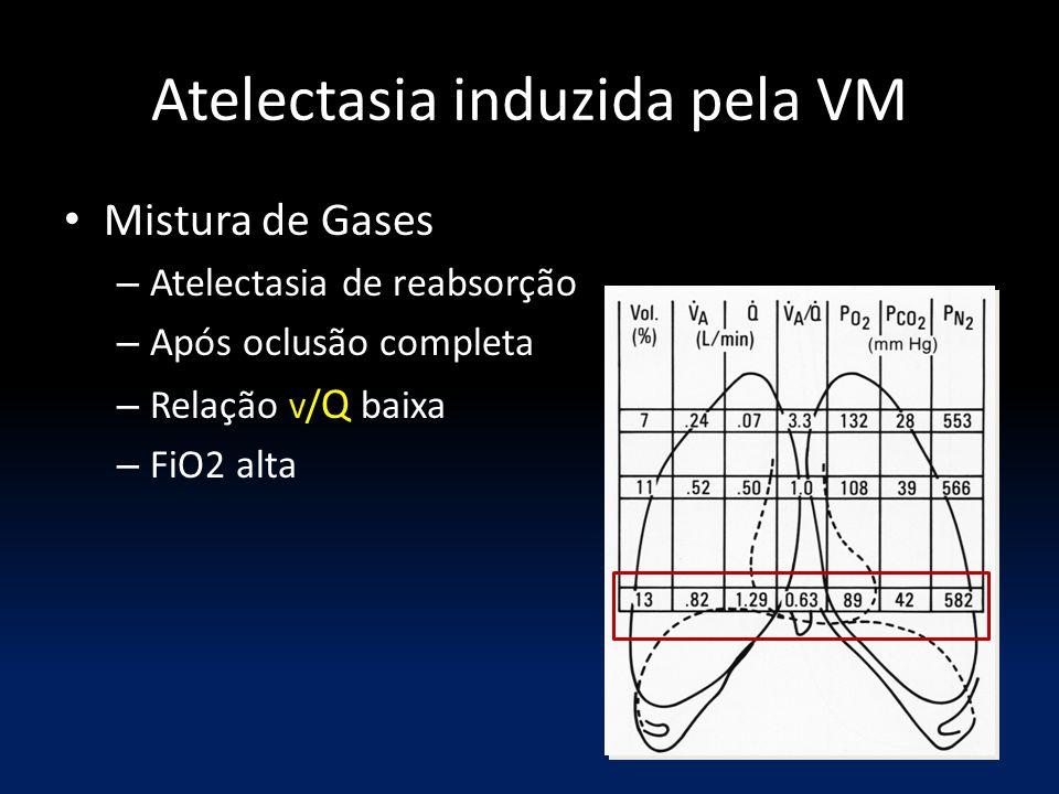 Atelectasia induzida pela VM Mistura de Gases – Atelectasia de reabsorção – Após oclusão completa – Relação V / Q baixa – FiO2 alta