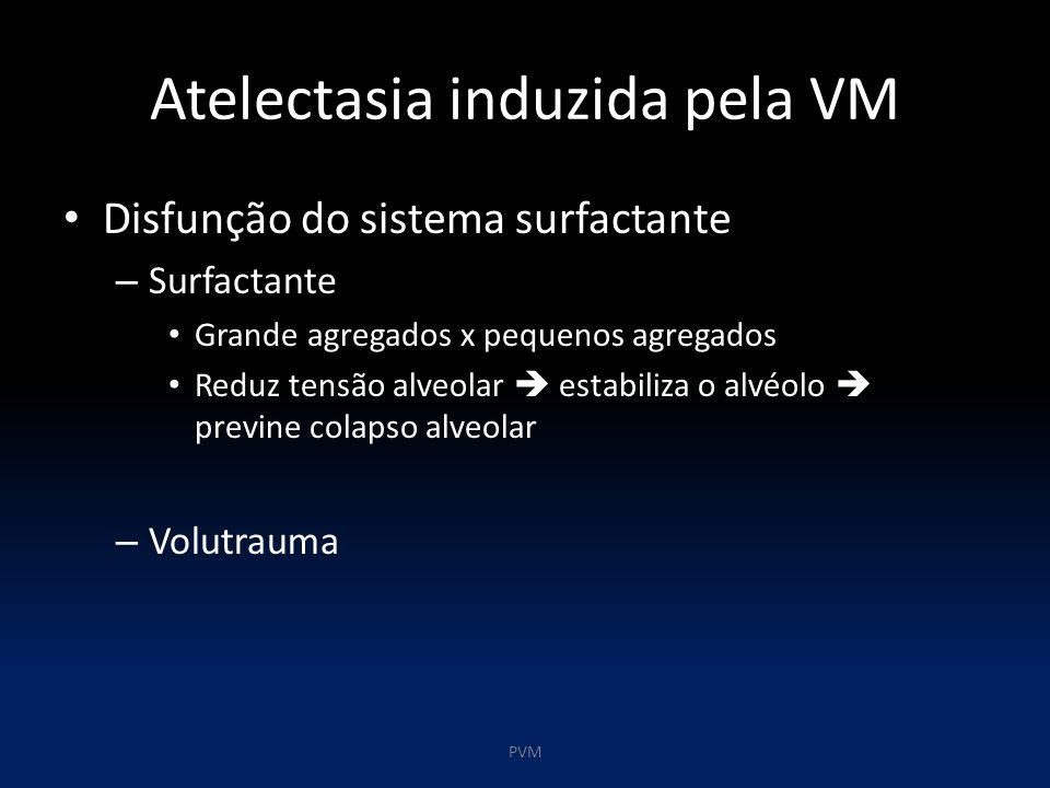 Atelectasia induzida pela VM Disfunção do sistema surfactante – Surfactante Grande agregados x pequenos agregados Reduz tensão alveolar  estabiliza o alvéolo  previne colapso alveolar – Volutrauma PVM