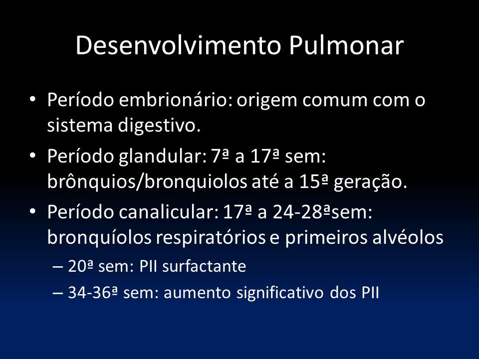Desenvolvimento Pulmonar Período embrionário: origem comum com o sistema digestivo. Período glandular: 7ª a 17ª sem: brônquios/bronquiolos até a 15ª g