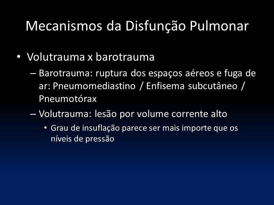 Mecanismos da Disfunção Pulmonar Volutrauma x barotrauma – Barotrauma: ruptura dos espaços aéreos e fuga de ar: Pneumomediastino / Enfisema subcutâneo