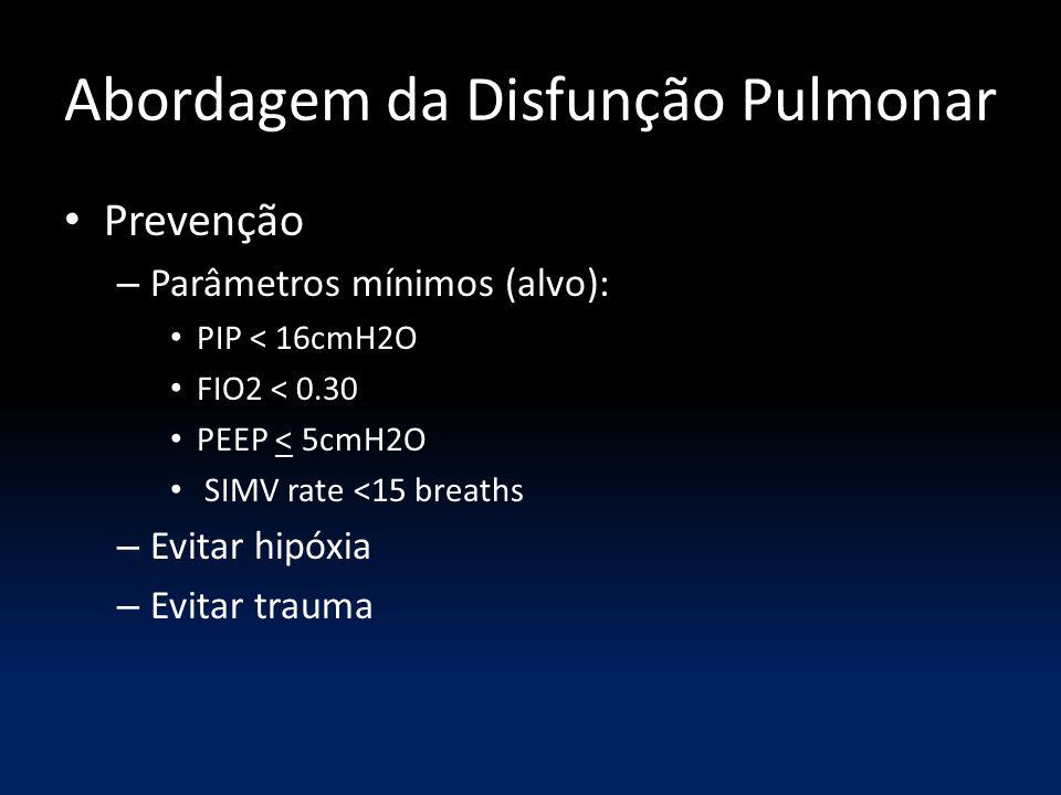 Abordagem da Disfunção Pulmonar Prevenção – Parâmetros mínimos (alvo): PIP < 16cmH2O FIO2 < 0.30 PEEP < 5cmH2O SIMV rate <15 breaths – Evitar hipóxia – Evitar trauma