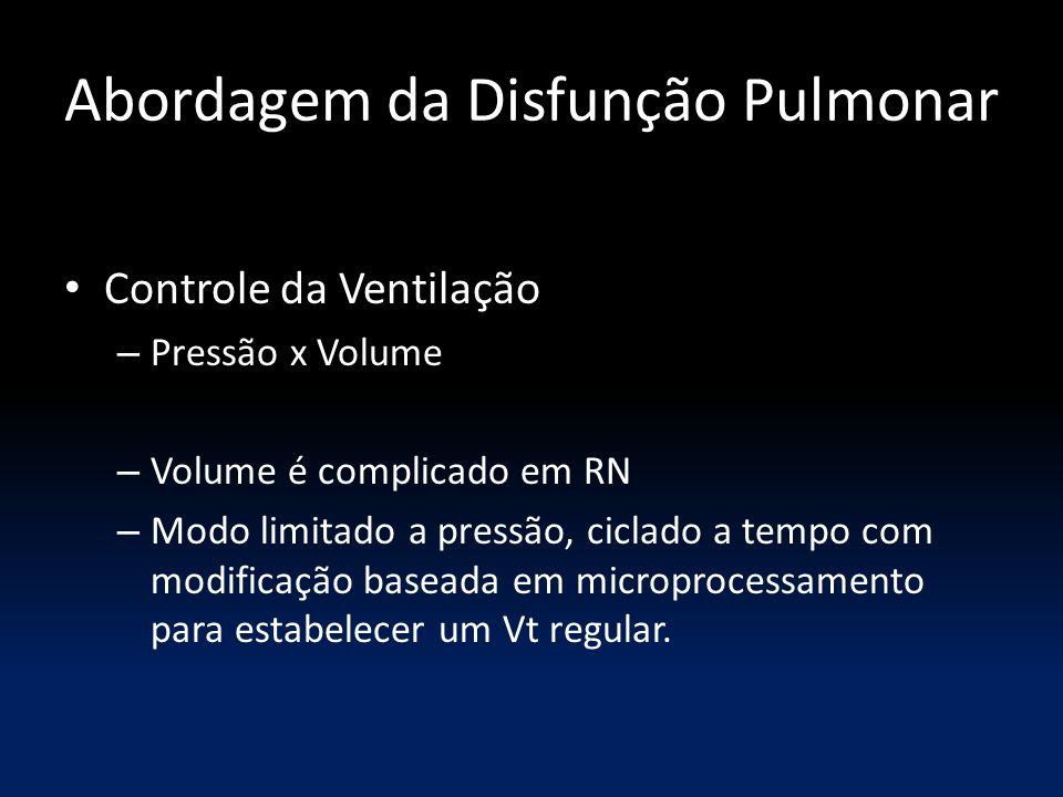 Abordagem da Disfunção Pulmonar Controle da Ventilação – Pressão x Volume – Volume é complicado em RN – Modo limitado a pressão, ciclado a tempo com m