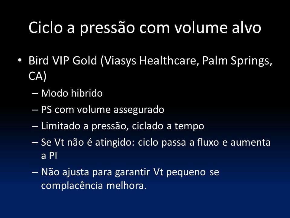 Ciclo a pressão com volume alvo Bird VIP Gold (Viasys Healthcare, Palm Springs, CA) – Modo hibrido – PS com volume assegurado – Limitado a pressão, ci