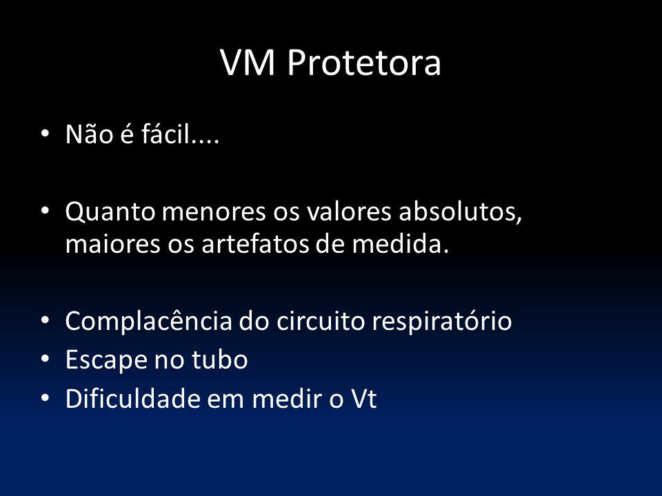 VM Protetora Não é fácil.... Quanto menores os valores absolutos, maiores os artefatos de medida. Complacência do circuito respiratório Escape no tubo