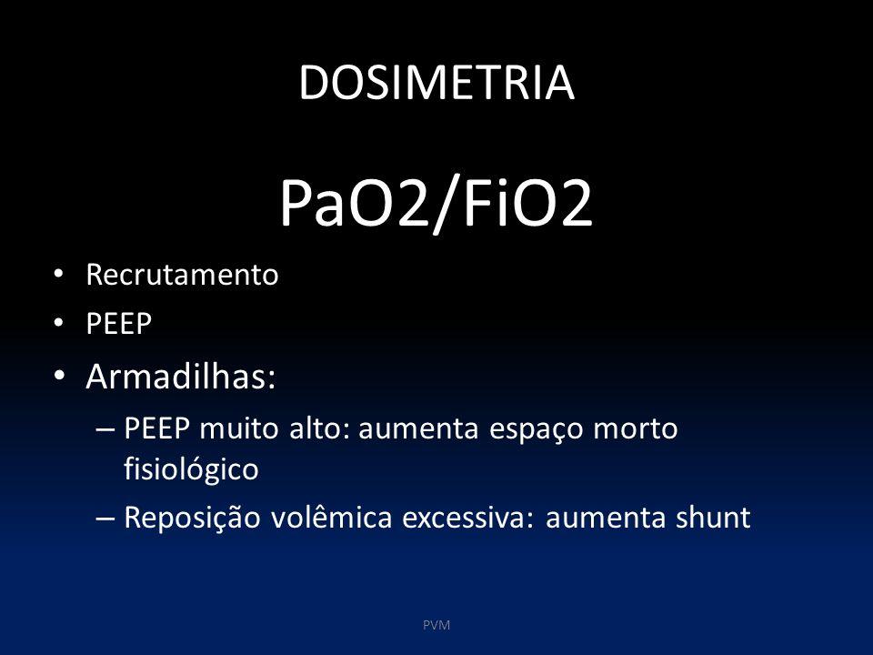DOSIMETRIA PaO2/FiO2 Recrutamento PEEP Armadilhas: – PEEP muito alto: aumenta espaço morto fisiológico – Reposição volêmica excessiva: aumenta shunt PVM