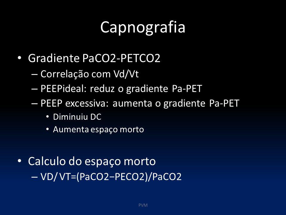 Capnografia Gradiente PaCO2-PETCO2 – Correlação com Vd/Vt – PEEPideal: reduz o gradiente Pa-PET – PEEP excessiva: aumenta o gradiente Pa-PET Diminuiu DC Aumenta espaço morto Calculo do espaço morto – VD/ VT=(PaCO2−PECO2)/PaCO2 PVM