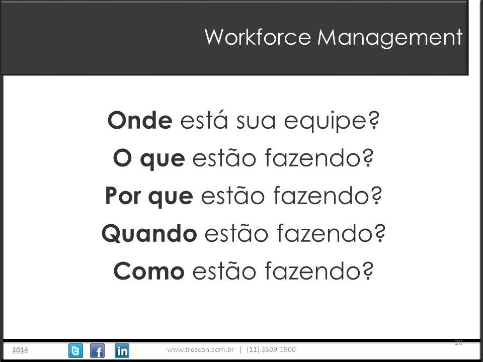www.trescon.com.br | (11) 3509 1900 2014 20 Workforce Management 2014 Onde está sua equipe.