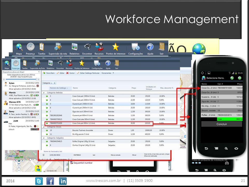 www.trescon.com.br | (11) 3509 1900 2014 21 Workforce Management 2014 TAREFAS FORMULÁRIOS GEO-LOCALIZAÇÃO PRESENÇA PEDIDOS