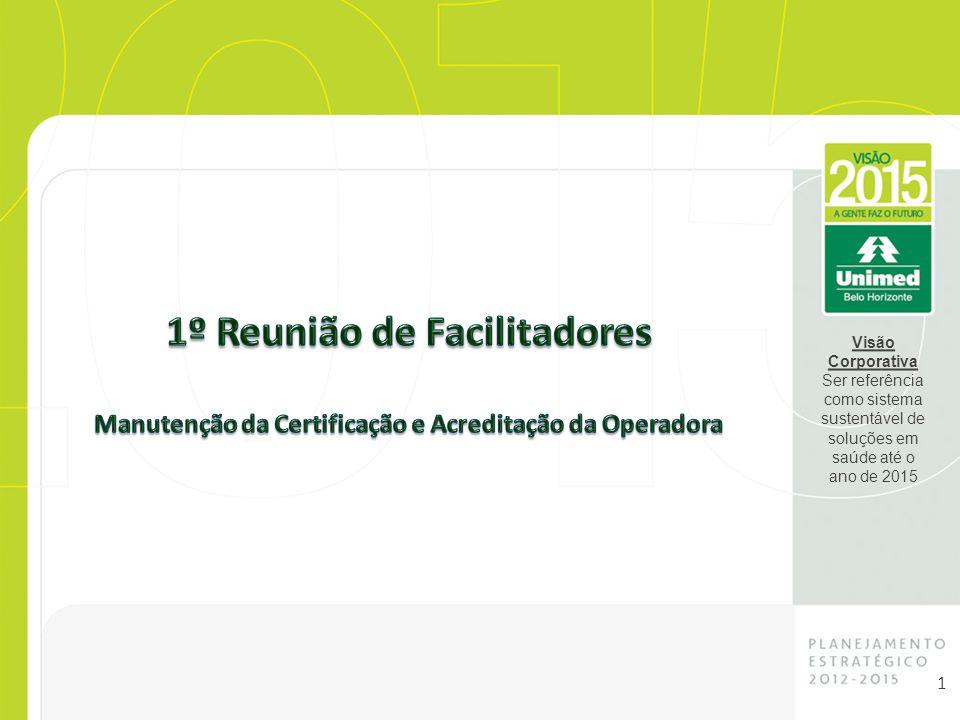 Visão Corporativa Ser referência como sistema sustentável de soluções em saúde até o ano de 2015 1