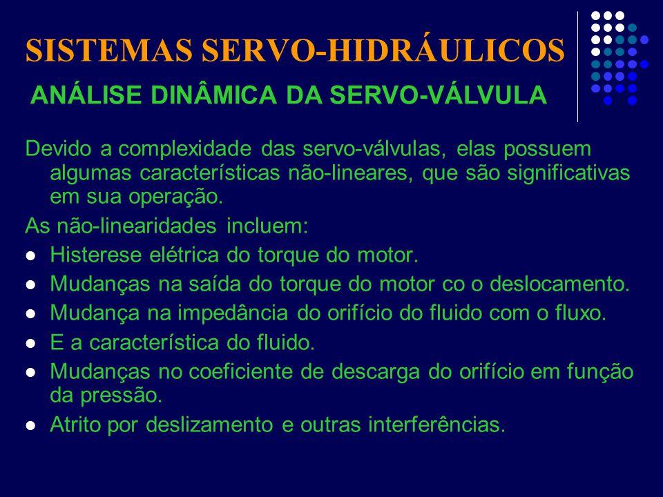SISTEMAS SERVO-HIDRÁULICOS Devido a complexidade das servo-válvulas, elas possuem algumas características não-lineares, que são significativas em sua