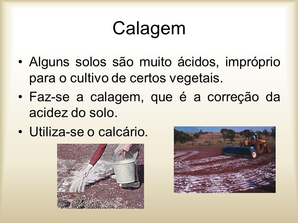 Calagem Alguns solos são muito ácidos, impróprio para o cultivo de certos vegetais. Faz-se a calagem, que é a correção da acidez do solo. Utiliza-se o