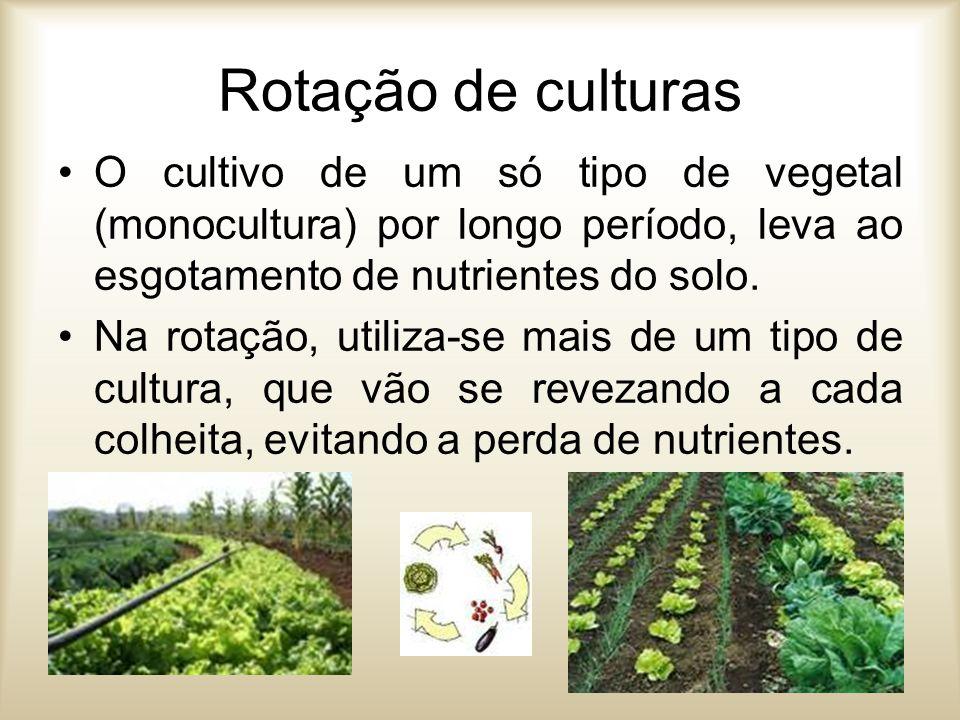 Rotação de culturas O cultivo de um só tipo de vegetal (monocultura) por longo período, leva ao esgotamento de nutrientes do solo. Na rotação, utiliza