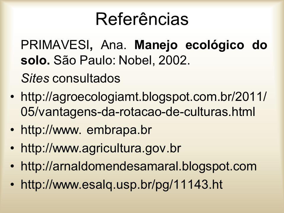 Referências PRIMAVESI, Ana. Manejo ecológico do solo. São Paulo: Nobel, 2002. Sites consultados http://agroecologiamt.blogspot.com.br/2011/ 05/vantage