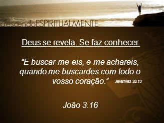 """Deus se revela. Se faz conhecer. """"E buscar-me-eis, e me achareis, quando me buscardes com todo o vosso coração."""" Jeremias 29.13 João 3.16"""