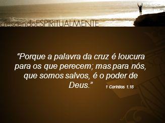 """""""Porque a palavra da cruz é loucura para os que perecem; mas para nós, que somos salvos, é o poder de Deus."""" 1 Coríntios 1.18"""