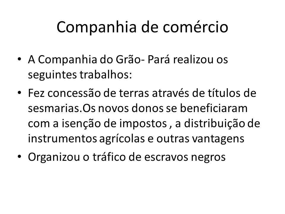 Companhia de comércio A Companhia do Grão- Pará realizou os seguintes trabalhos: Fez concessão de terras através de títulos de sesmarias.Os novos dono