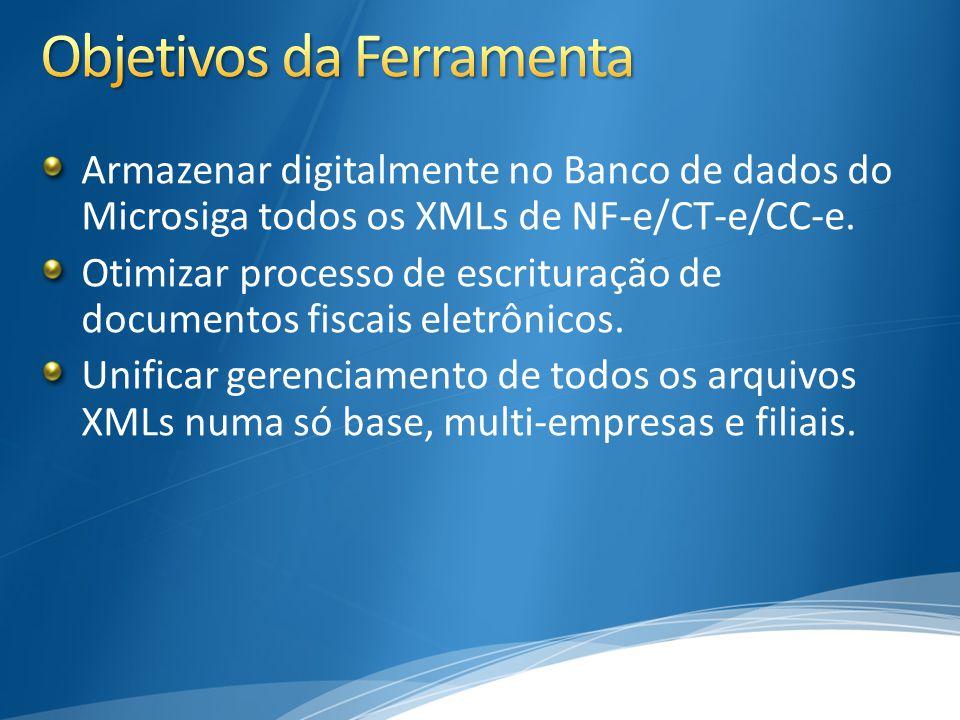 Armazenar digitalmente no Banco de dados do Microsiga todos os XMLs de NF-e/CT-e/CC-e. Otimizar processo de escrituração de documentos fiscais eletrôn