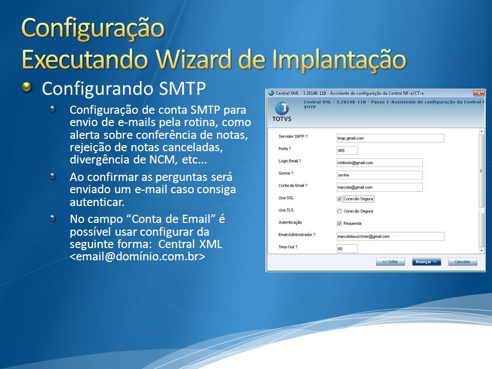 Configurando SMTP Configuração de conta SMTP para envio de e-mails pela rotina, como alerta sobre conferência de notas, rejeição de notas canceladas, divergência de NCM, etc...