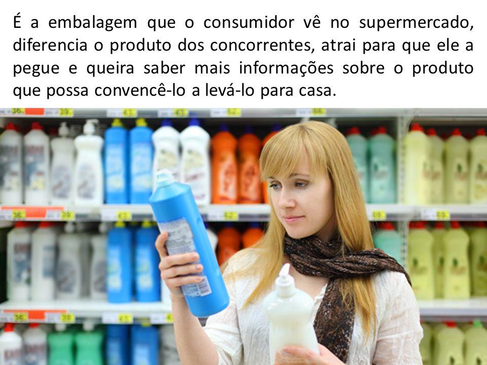 É a embalagem que o consumidor vê no supermercado, diferencia o produto dos concorrentes, atrai para que ele a pegue e queira saber mais informações s