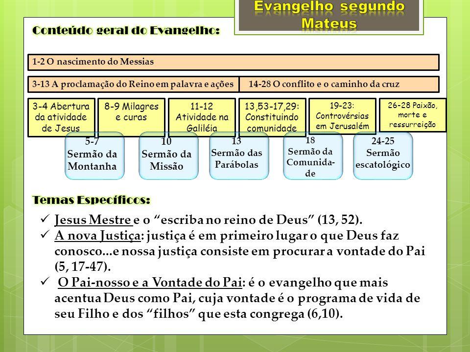 1-2 O nascimento do Messias 3-13 A proclamação do Reino em palavra e ações 14-28 O conflito e o caminho da cruz 3-4 Abertura da atividade de Jesus 8-9