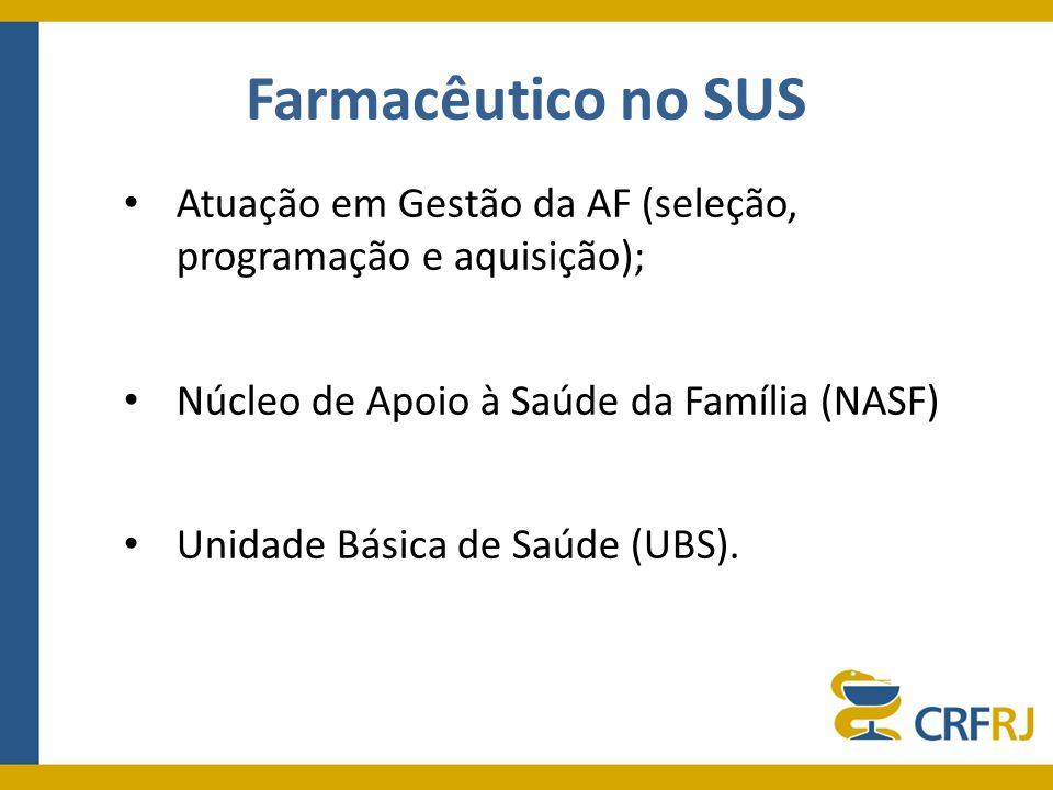 Farmacêutico no SUS Atuação em Gestão da AF (seleção, programação e aquisição); Núcleo de Apoio à Saúde da Família (NASF) Unidade Básica de Saúde (UBS