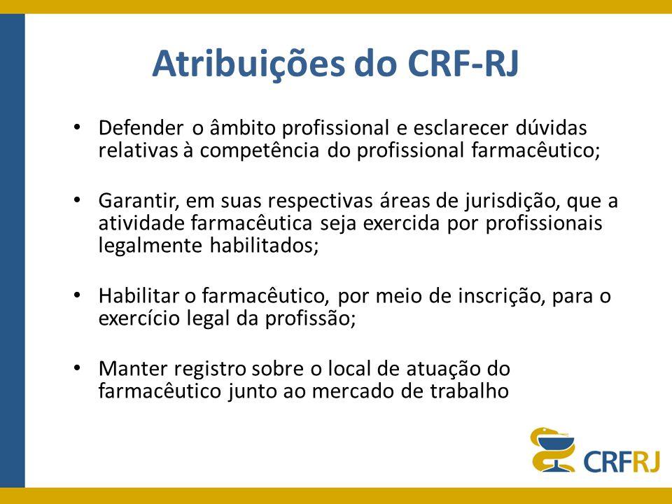 Atribuições do CRF-RJ Defender o âmbito profissional e esclarecer dúvidas relativas à competência do profissional farmacêutico; Garantir, em suas resp