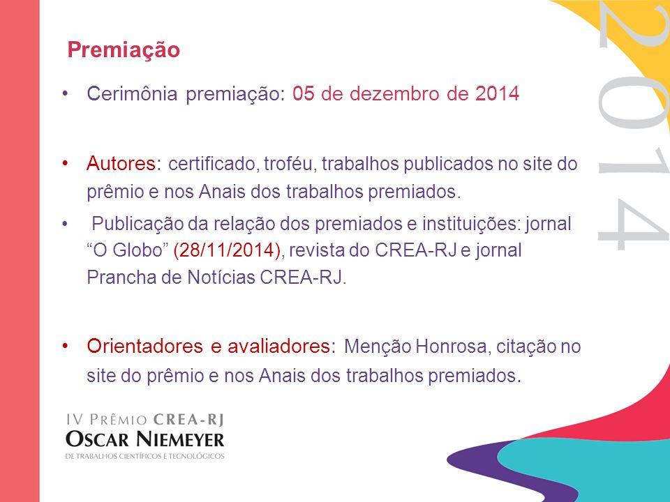 Premiação Cerimônia premiação: 05 de dezembro de 2014 Autores: certificado, troféu, trabalhos publicados no site do prêmio e nos Anais dos trabalhos p