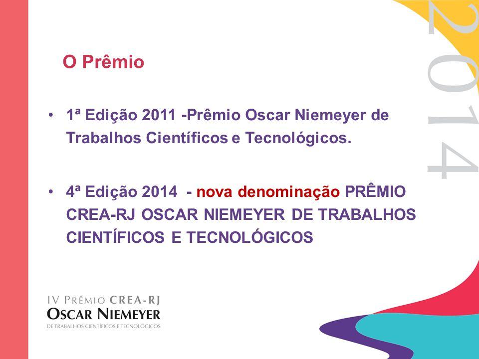 O Prêmio 1ª Edição 2011 -Prêmio Oscar Niemeyer de Trabalhos Científicos e Tecnológicos. 4ª Edição 2014 - nova denominação PRÊMIO CREA-RJ OSCAR NIEMEYE