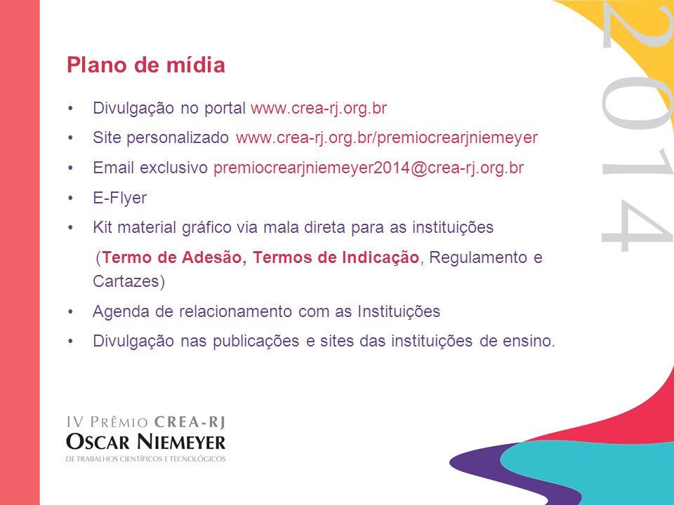 Plano de mídia Divulgação no portal www.crea-rj.org.br Site personalizado www.crea-rj.org.br/premiocrearjniemeyer Email exclusivo premiocrearjniemeyer