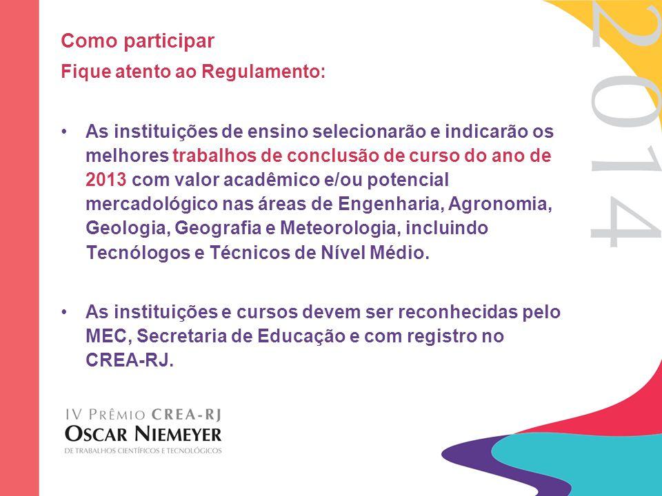 Como participar Das categorias: –Graduação de Nível Superior –Tecnológico e Médio-Técnico –Mestrado –Doutorado Das áreas: – Engenharia, Agronomia, Geologia, Geografia e Meteorologia