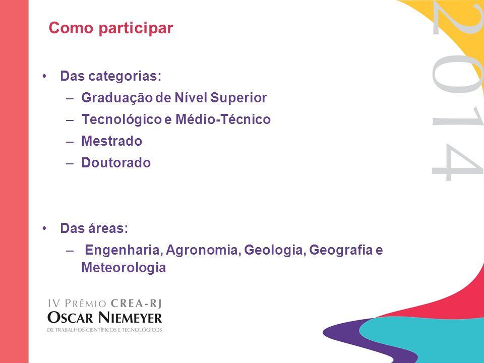 Como participar Das categorias: –Graduação de Nível Superior –Tecnológico e Médio-Técnico –Mestrado –Doutorado Das áreas: – Engenharia, Agronomia, Geo