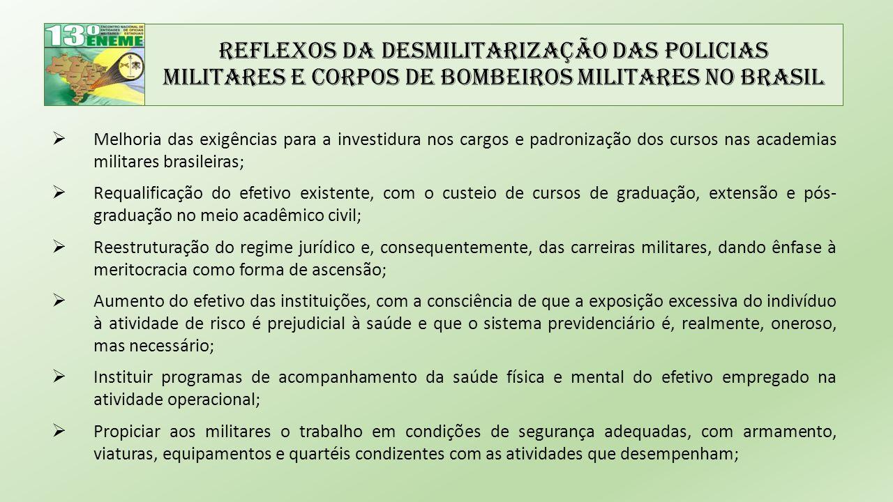 Reflexos da Desmilitarização das Policias Militares e Corpos de Bombeiros Militares no Brasil  Melhoria das exigências para a investidura nos cargos