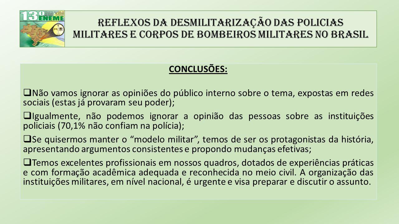 Reflexos da Desmilitarização das Policias Militares e Corpos de Bombeiros Militares no Brasil CONCLUSÕES:  Não vamos ignorar as opiniões do público interno sobre o tema, expostas em redes sociais (estas já provaram seu poder);  Igualmente, não podemos ignorar a opinião das pessoas sobre as instituições policiais (70,1% não confiam na polícia);  Se quisermos manter o modelo militar , temos de ser os protagonistas da história, apresentando argumentos consistentes e propondo mudanças efetivas;  Temos excelentes profissionais em nossos quadros, dotados de experiências práticas e com formação acadêmica adequada e reconhecida no meio civil.
